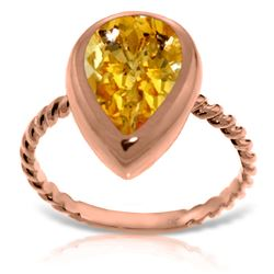 Genuine 2.5 ctw Citrine Ring Jewelry 14KT Rose Gold - REF-40W7Y