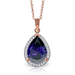 Genuine 5.26 ctw Sapphire & Diamond Necklace Jewelry 14KT Rose Gold - REF-96T6A