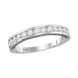 0.50 CTW Diamond Single Row Wedding Ring 14KT White Gold - REF-44Y9X
