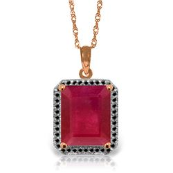 Genuine 7.45 ctw Ruby & Black Diamond Necklace Jewelry 14KT Rose Gold - REF-105W5Y