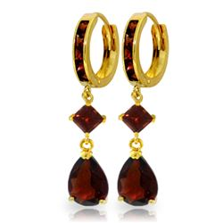 Genuine 5.62 ctw Garnet Earrings Jewelry 14KT Yellow Gold - REF-65V3W