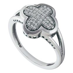 0.15 CTW Diamond Cluster Ring 10KT White Gold - REF-24W2K