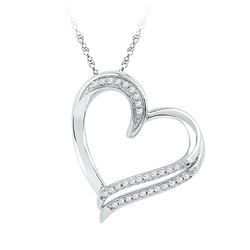 0.16 CTW Diamond Heart Love Pendant 10KT White Gold - REF-18X2Y