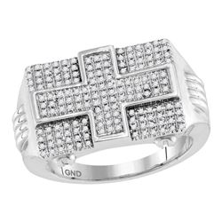 0.64 CTW Mens Diamond Rectangle Cross Cluster Ring 10KT White Gold - REF-71K9W