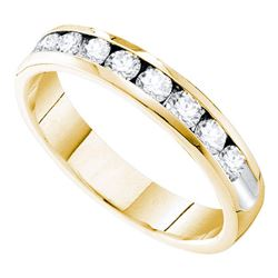 0.75 CTW Diamond 4mm Wedding Ring 14KT Yellow Gold - REF-101H9M