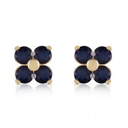 Genuine 1.15 ctw Sapphire Earrings Jewelry 14KT Yellow Gold - REF-21K9V