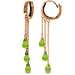 Genuine 4.8 ctw Peridot Earrings Jewelry 14KT Rose Gold - REF-64R4P