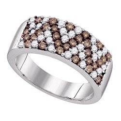 1.05 CTW Cognac-brown Color Diamond Chevron Ring 10KT White Gold - REF-64Y4X