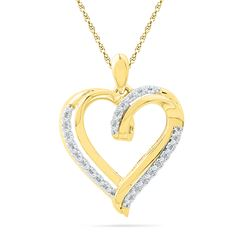 0.10 CTW Diamond Heart Love Pendant 10KT Yellow Gold - REF-14H9M