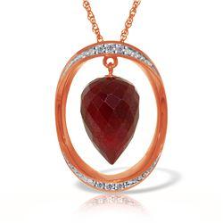 Genuine 13.1 ctw Ruby & Diamond Necklace Jewelry 14KT Rose Gold - REF-122F8Z