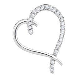 0.15 CTW Diamond Segmented Heart Outline Pendant 10KT White Gold - REF-12K2W