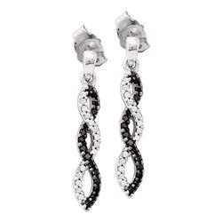 0.15 CTW Black Color Diamond Infinity Dangle Screwback Earrings 10KT White Gold - REF-18H2M