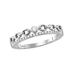 0.08 CTW Diamond Rolo Link Stackable Ring 10KT White Gold - REF-13Y4X