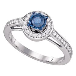 0.40 CTW Blue Color Diamond Solitaire Bridal Engagement Ring 10KT White Gold - REF-41F9N
