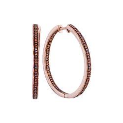 0.50 CTW Red Color Diamond Hoop Earrings 10KT Rose Gold - REF-59X9Y