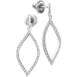 0.20 CTW Diamond Oblong Oval Dangle Earrings 10KT White Gold - REF-18Y2X