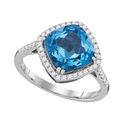 3.89 CTW Cushion Blue Topaz Solitaire Diamond Halo Ring 14KT White Gold - REF-64M4H