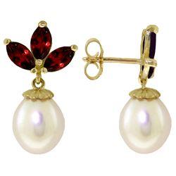Genuine 9.5 ctw Garnet & Pearl Earrings Jewelry 14KT White Gold - REF-31A2K
