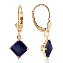 Genuine 2.9 ctw Sapphire Earrings Jewelry 14KT Yellow Gold - REF-42V2W