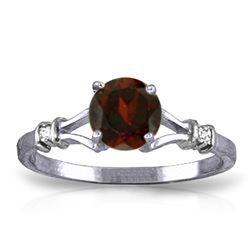 Genuine 1.07 ctw Garnet & Diamond Ring Jewelry 14KT White Gold - REF-27T8A