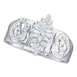 0.12 CTW Diamond Mom Mother Ring 10KT White Gold - REF-18M2H