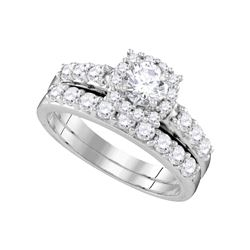 1.5 CTW Diamond Halo Bridal Engagement Ring 14k White Gold - REF-224Y9X