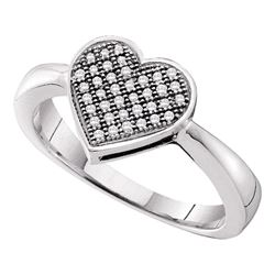 0.10 CTW Diamond Heart Love Cluster Ring 10KT White Gold - REF-19Y4X