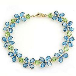 Genuine 20.7 ctw Blue Topaz & Peridot Bracelet Jewelry 14KT White Gold - REF-142W9Y