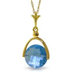 Genuine 3.25 ctw Blue Topaz Necklace Jewelry 14KT Yellow Gold - REF-22Z3N