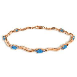 Genuine 2.16 ctw Blue Topaz & Diamond Bracelet Jewelry 14KT Rose Gold - REF-76A7K