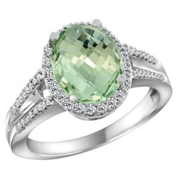 Natural 2.72 ctw green-amethyst & Diamond Engagement Ring 10K White Gold - REF-45N3G