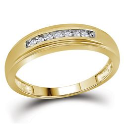 0.08 CTW Mens Diamond Wedding Anniversary Ring 10KT Yellow Gold - REF-14K9W