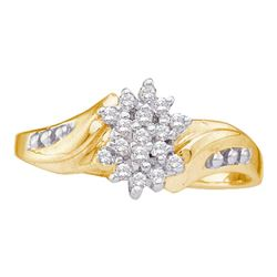 0.12 CTW Diamond Cluster Ring 10KT Yellow Gold - REF-10N5F