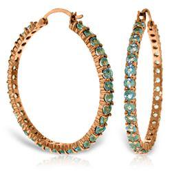Genuine 6 ctw Blue Topaz Earrings Jewelry 14KT Rose Gold - REF-104H8X