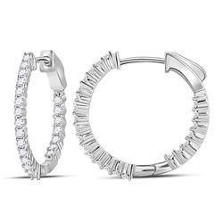0.99 CTW Diamond In/Out Hoop Earrings 10KT White Gold - REF-75W2K