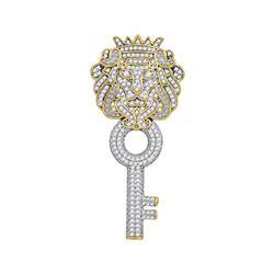 0.88 CTW Mens Diamond King Lion Key Charm Pendant 10KT Yellow Gold - REF-67X4Y