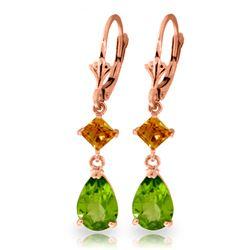 Genuine 4.5 ctw Peridot & Citrine Earrings Jewelry 14KT Rose Gold - REF-41F4Z