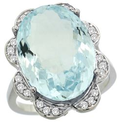 Natural 13.83 ctw aquamarine & Diamond Engagement Ring 14K White Gold - REF-284N9G