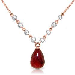 Genuine 15.6 ctw Ruby & Diamond Necklace Jewelry 14KT Rose Gold - REF-139A8K