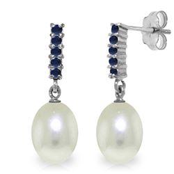 Genuine 8.4 ctw Pearl & Sapphire Earrings Jewelry 14KT White Gold - REF-25Z6N