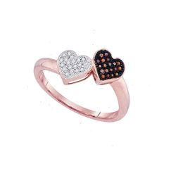 0.10 CTW Red Color Diamond Heart Love Ring 10KT Rose Gold - REF-14W9K