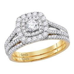 1 CTW Diamond Double Halo Bridal Engagement Ring 14KT Yellow Gold - REF-136F4N
