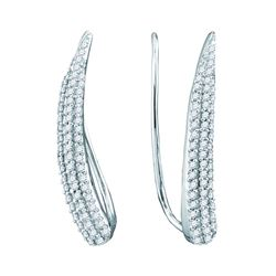 0.32 CTW Diamond Tapered Climber Earrings 10KT White Gold - REF-28Y4X