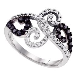 0.33 CTW Black Color Diamond Whimsical Swirled Cocktail Ring 10KT White Gold - REF-30M2H