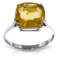 Genuine 3.6 ctw Citrine Ring Jewelry 14KT White Gold - REF-34R7P