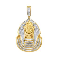 0.90 CTW Mens Diamond Pharaoh Cluster Charm Pendant 10KT Yellow Gold - REF-75X2Y