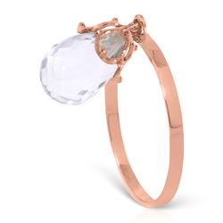 Genuine 3 ctw White Topaz Ring Jewelry 14KT Rose Gold - REF-22M5T