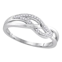 0.09 CTW Diamond Woven Strand Ring 10KT White Gold - REF-13Y4X