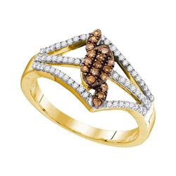 0.33 CTW Cognac-brown Color Diamond Openwork Strand Ring 10KT Yellow Gold - REF-26K9W