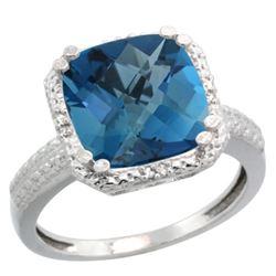 Natural 5.96 ctw London-blue-topaz & Diamond Engagement Ring 10K White Gold - REF-34F3N